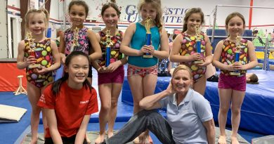 gymnastics unlimited coach chris rising stars trophies