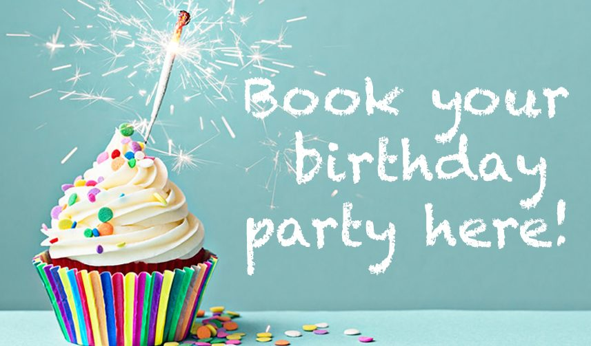 Book your birthday party here text and picture of cupcake with sprinkles and sparklers