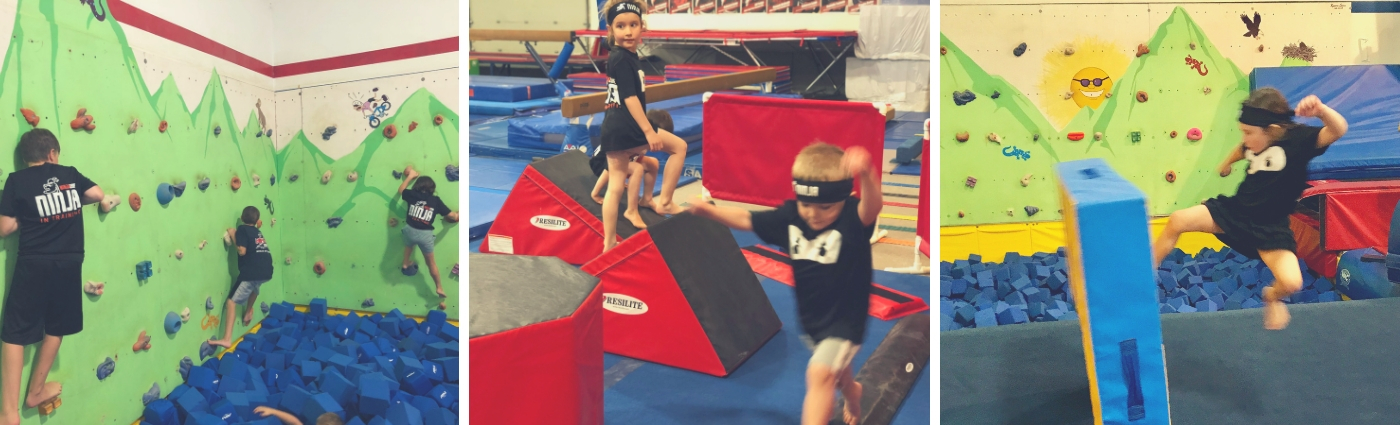Three photos of ninja kids doing a flying kick, obstacle course, and rock wall