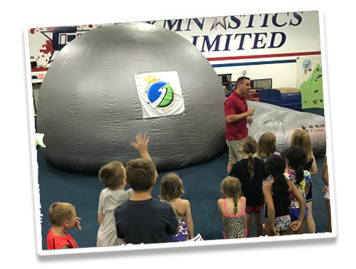Stars on the Go portable planetarium visits Gymnastics Unlimited's Camp Kids summer campers