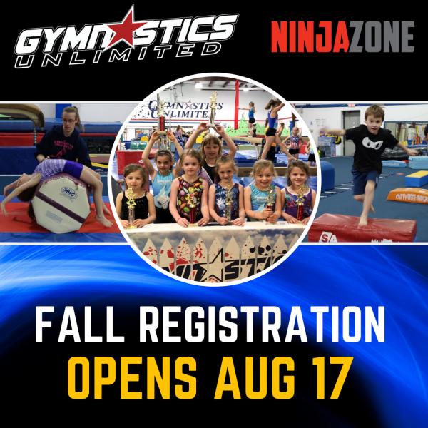 Gymnastics Unlimited Fall Registration August 17 2019