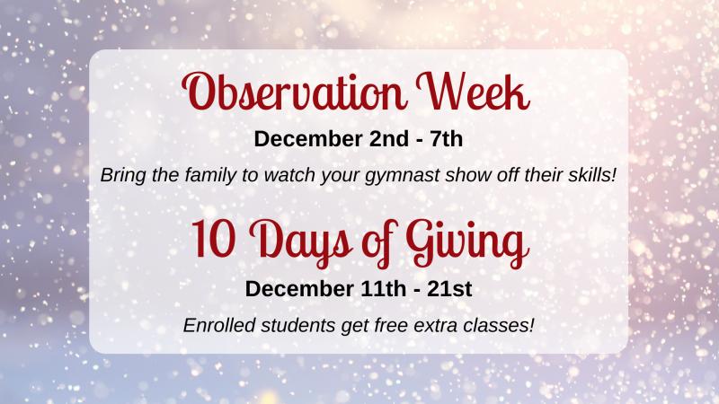 gymnastics unlimited december events
